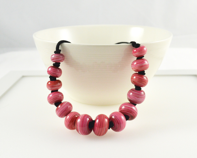 Adjustable Length Pink Beaded Necklace