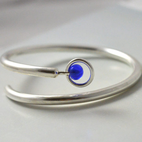 Handmade Navy Blue Silver Bangle