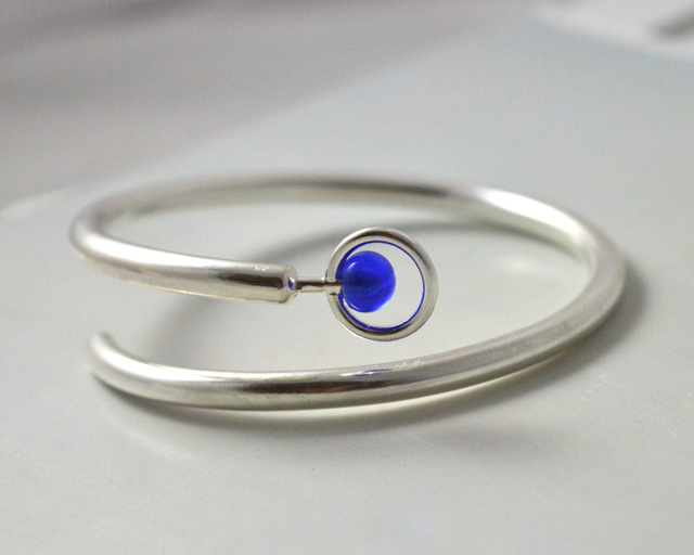 Sterling Silver and Handmade Glass Bangle