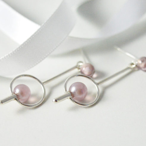 Long Handmade Pink Earrings