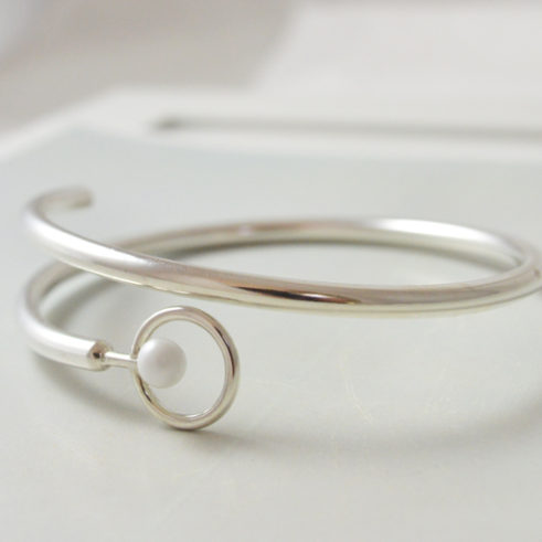 Unique Hand Forged White and Silver Bangle